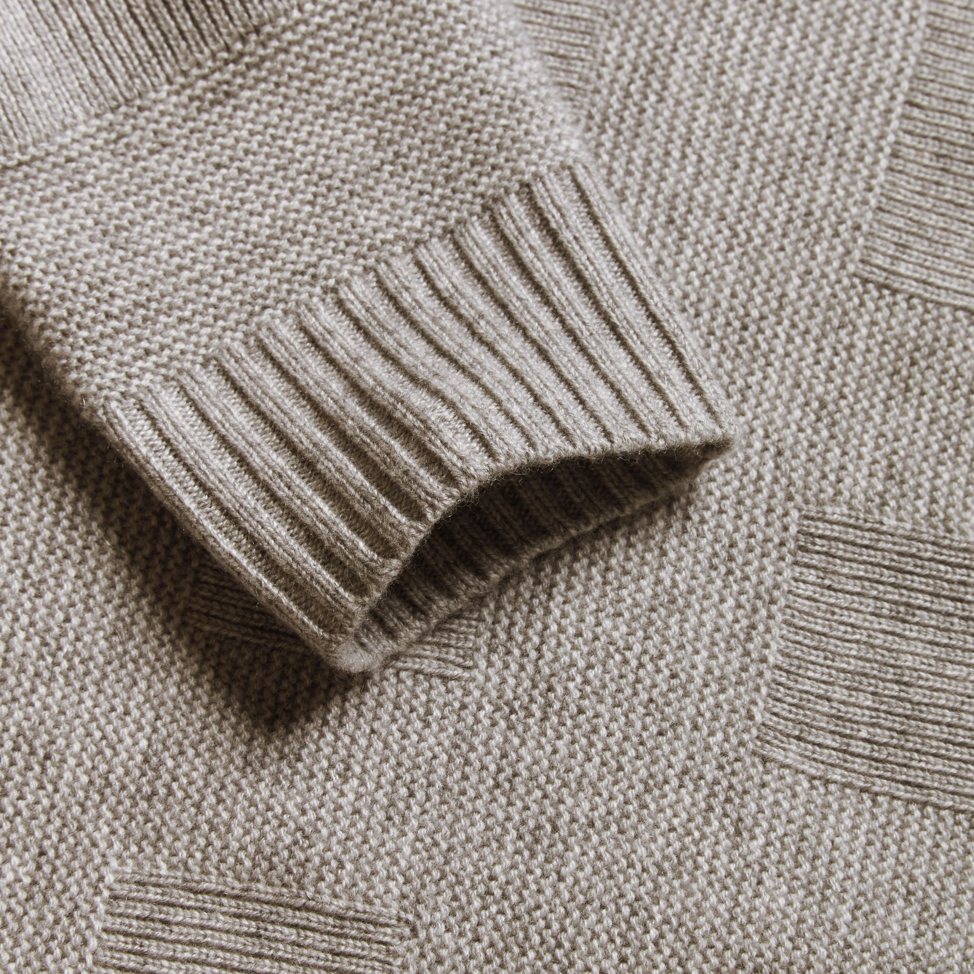 Check-knit Wool Cashmere Sweater Light Grey Melange - gallery image 2