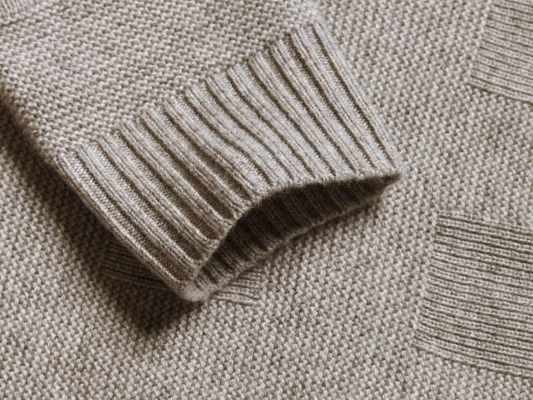 Check-knit Wool Cashmere Sweater Light Grey Melange - cell image 1