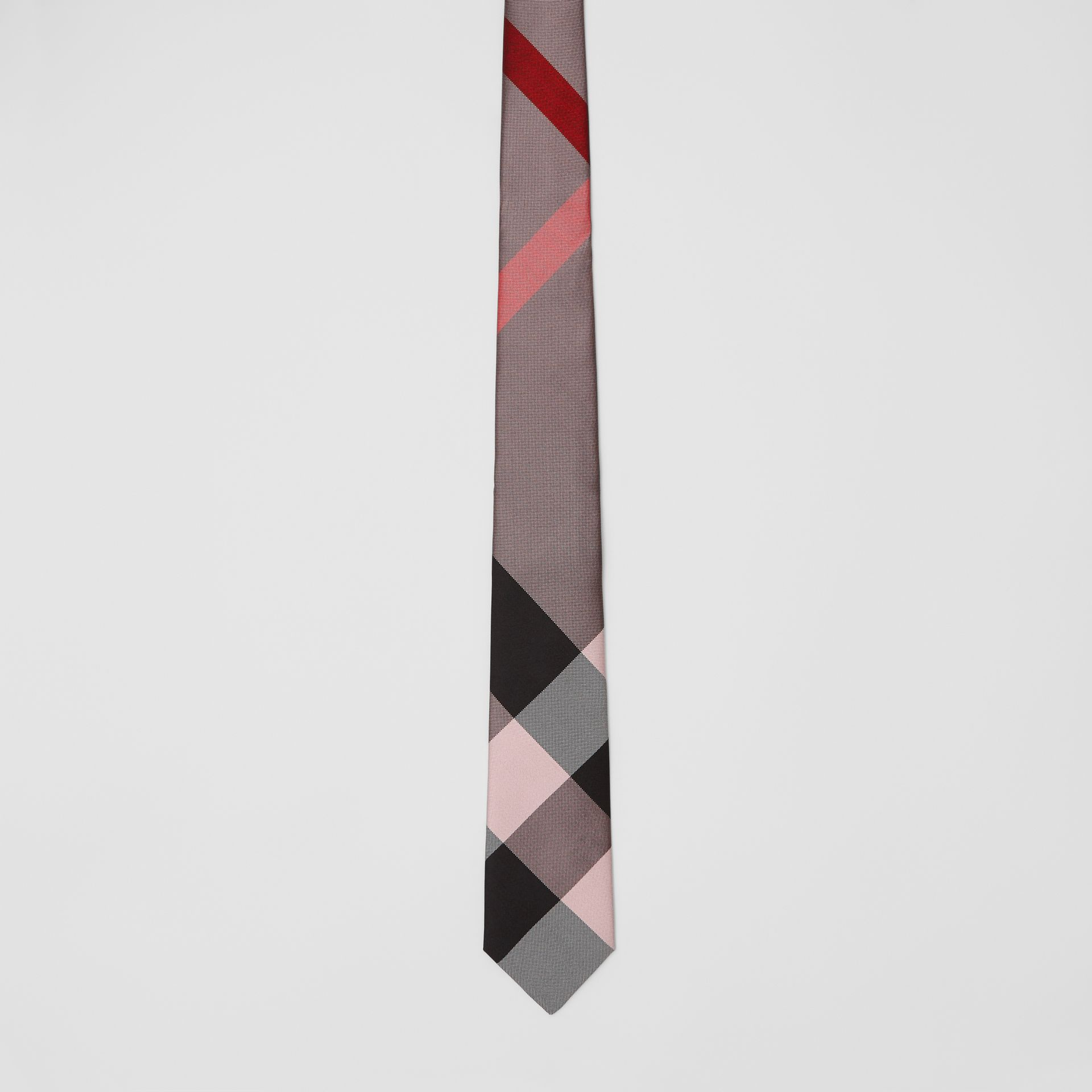 Modern Cut Oversized Check Silk Tie in Alabaster Pink - Men | Burberry - gallery image 3