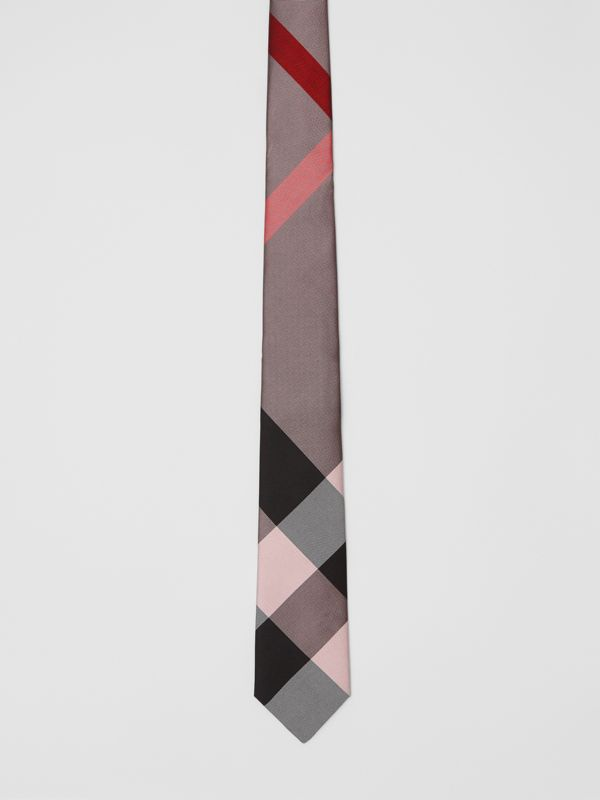 Modern Cut Oversized Check Silk Tie in Alabaster Pink - Men | Burberry - cell image 3