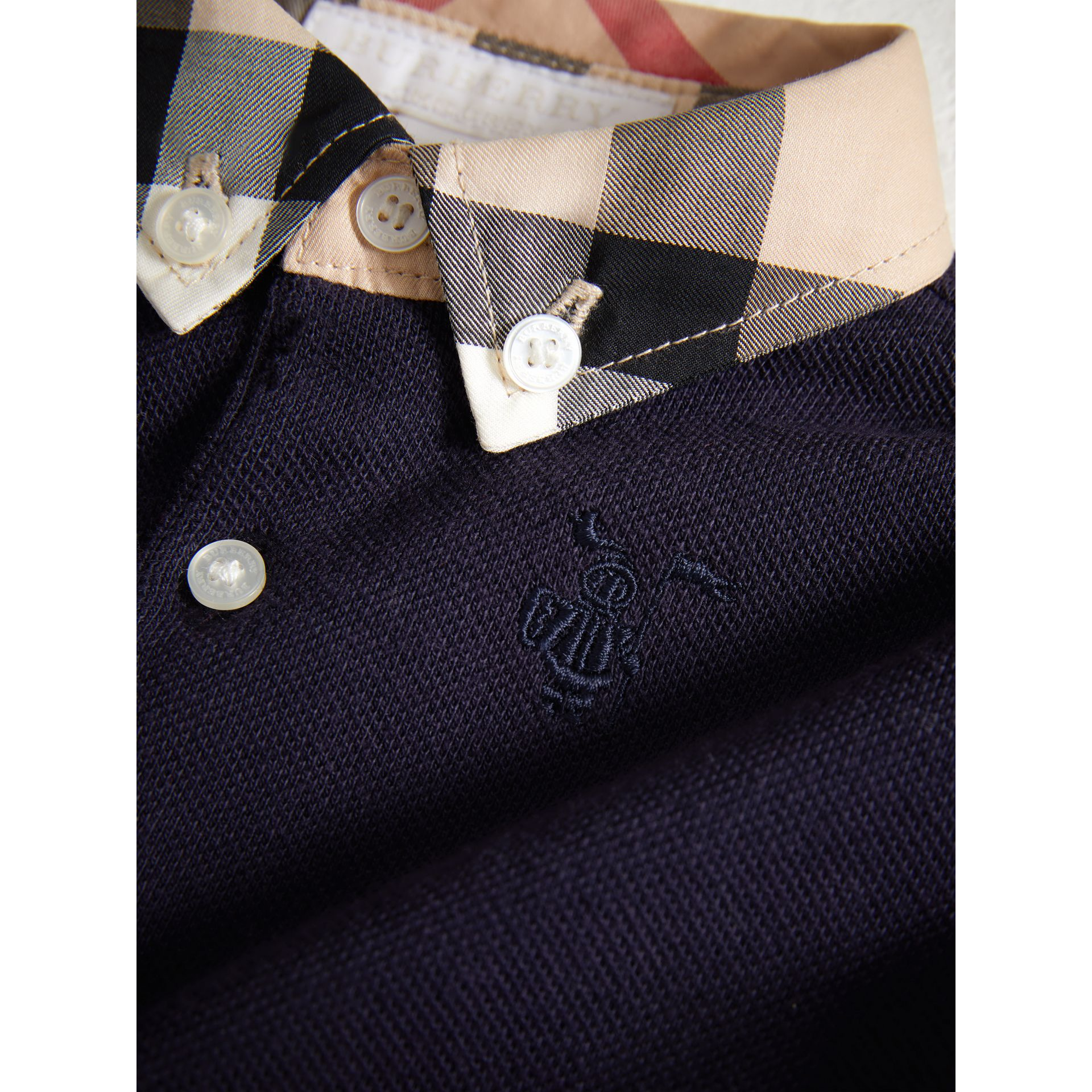 Check Collar Cotton Polo Shirt in True Navy | Burberry - gallery image 1