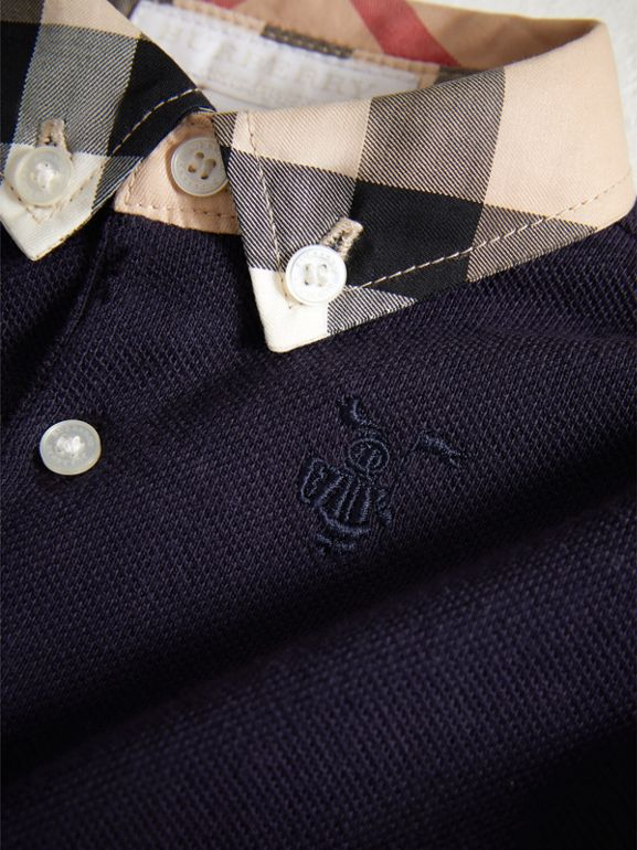 Check Collar Cotton Polo Shirt in True Navy - Children | Burberry - cell image 1