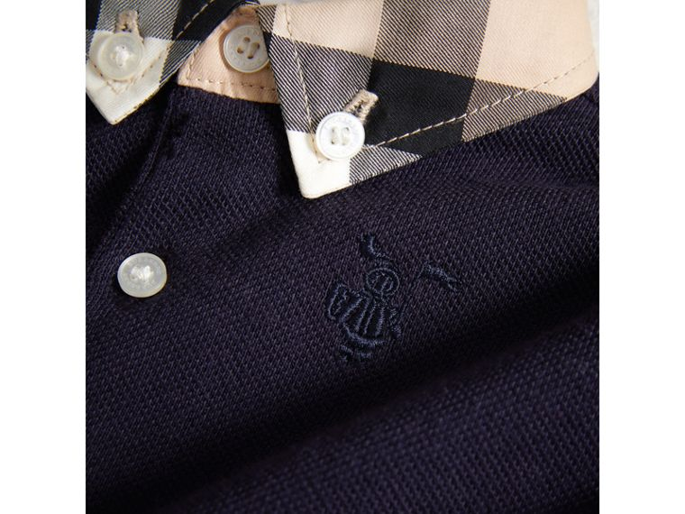 Check Collar Cotton Polo Shirt in True Navy | Burberry - cell image 1