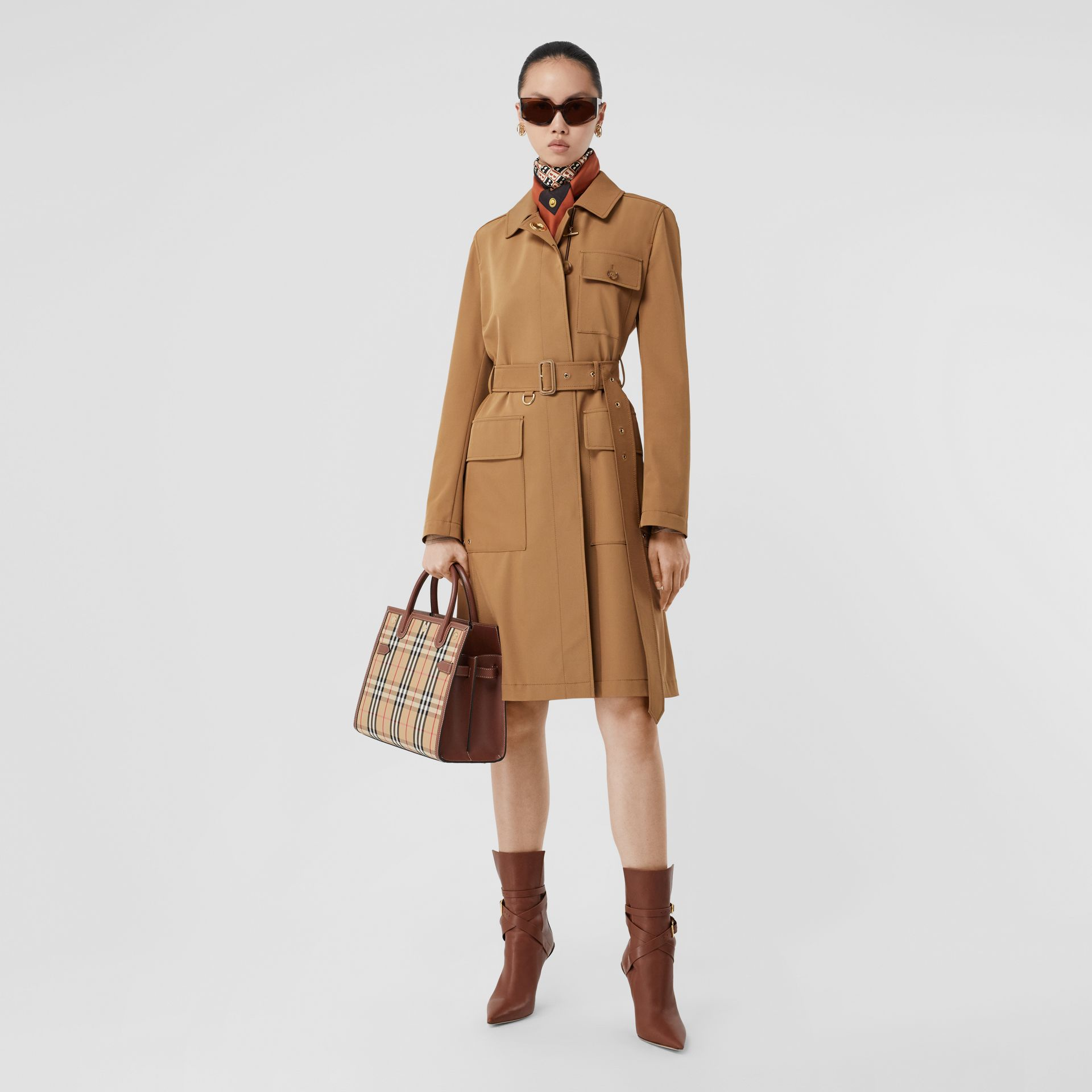 Small Vintage Check Two-handle Title Bag in Archive Beige - Women | Burberry - gallery image 5