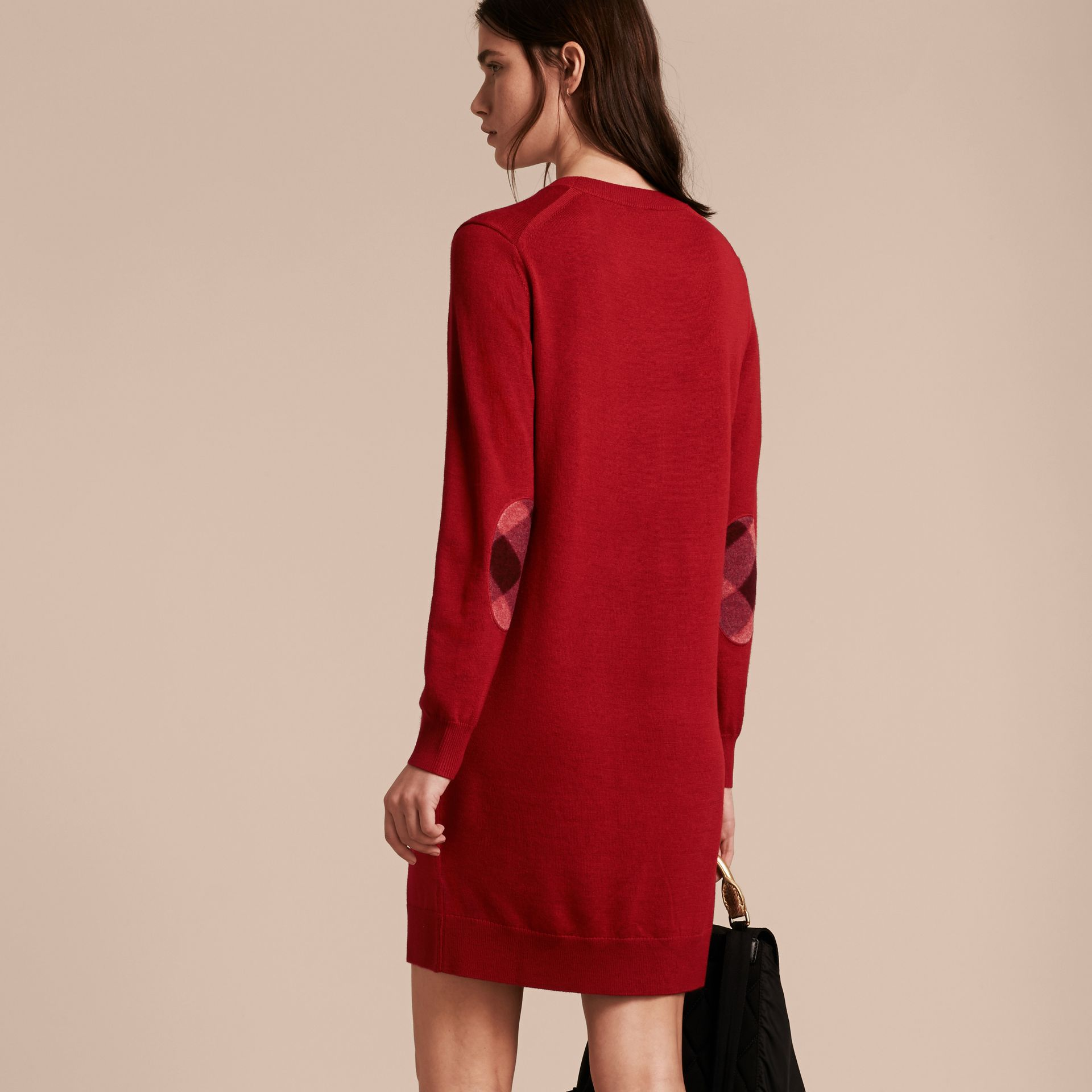 Check Elbow Detail Merino Wool Sweater Dress in Parade Red - gallery image 3