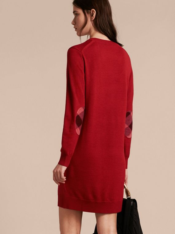 Check Elbow Detail Merino Wool Sweater Dress in Parade Red - cell image 2