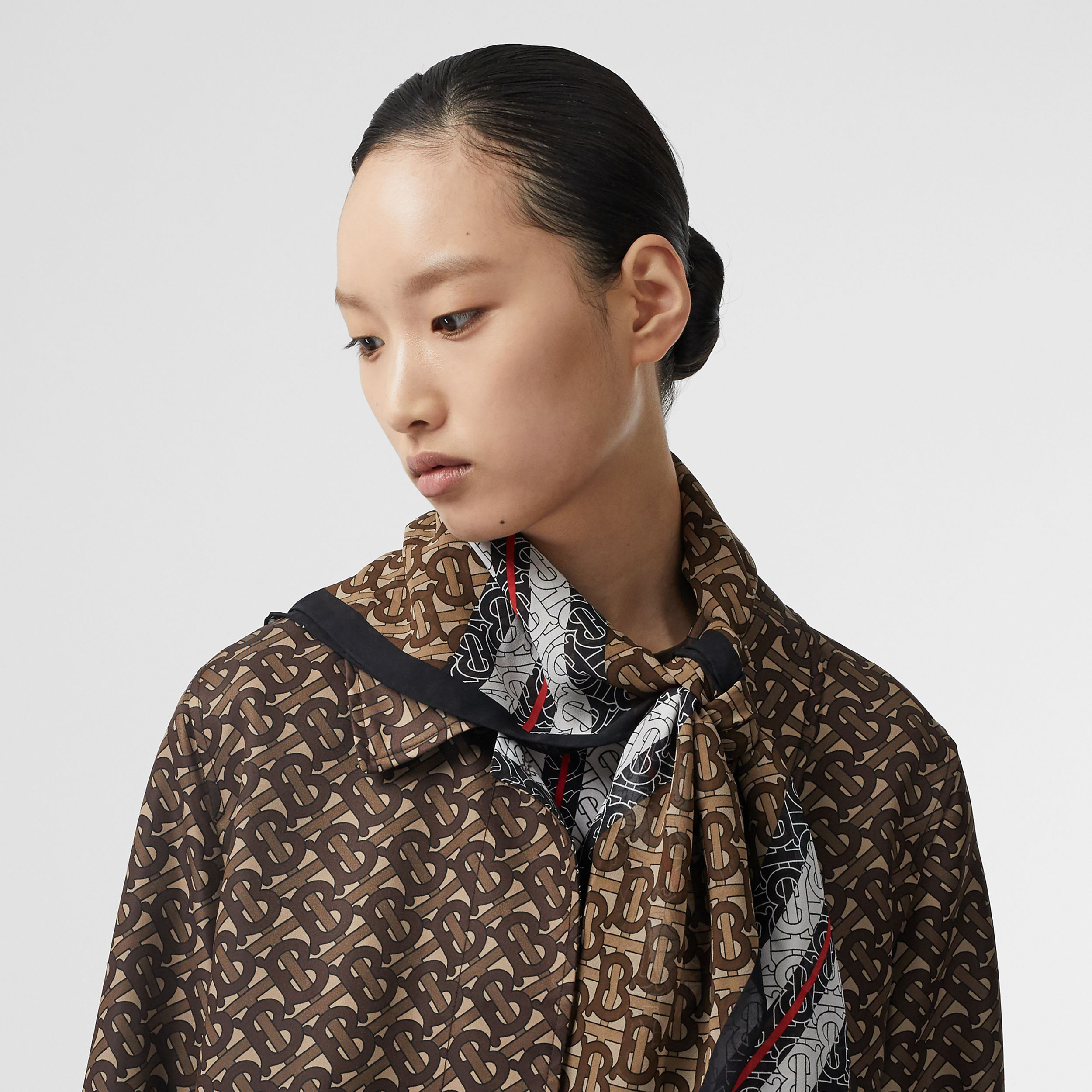 Monogram Stripe Silk Square Scarf in Bridle Brown | Burberry - 3