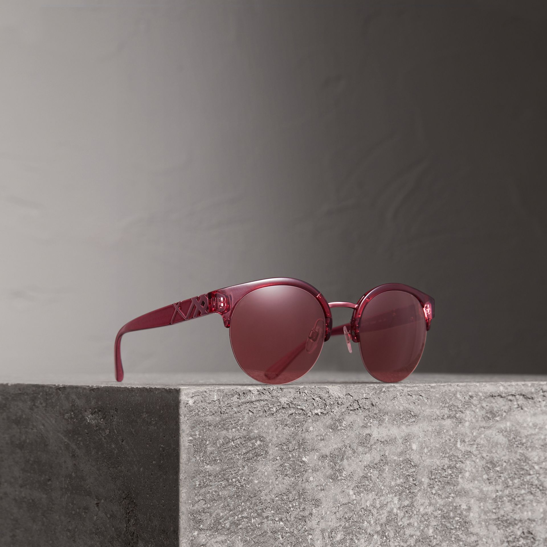 Check Detail Round Half-frame Sunglasses in Burgundy - Women | Burberry Canada - gallery image 0