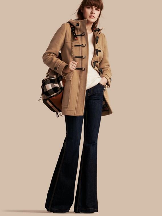 Duffle-coat en laine avec doublure à motif check et à cœurs Camel Nouveau