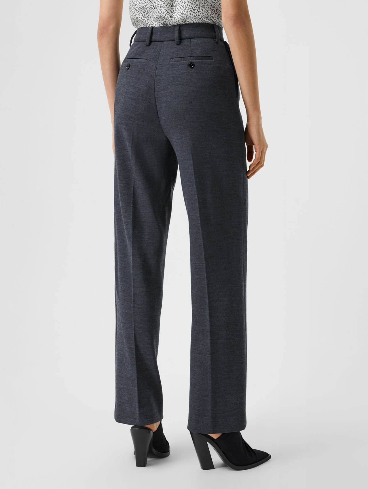 Pocket Detail Technical Wool Tailored Trousers in Dark Carbon