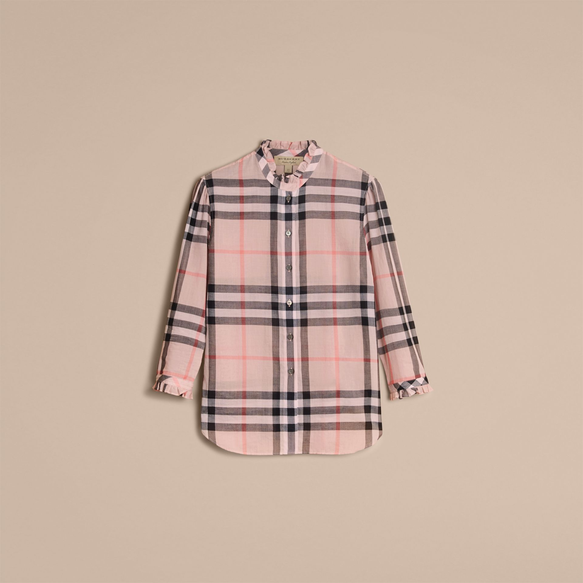 Ruffle Detail Check Cotton Shirt in Vintage Pink - Women | Burberry - gallery image 3