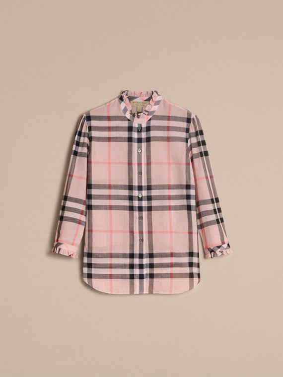 Ruffle Detail Check Cotton Shirt in Vintage Pink - Women | Burberry - cell image 3
