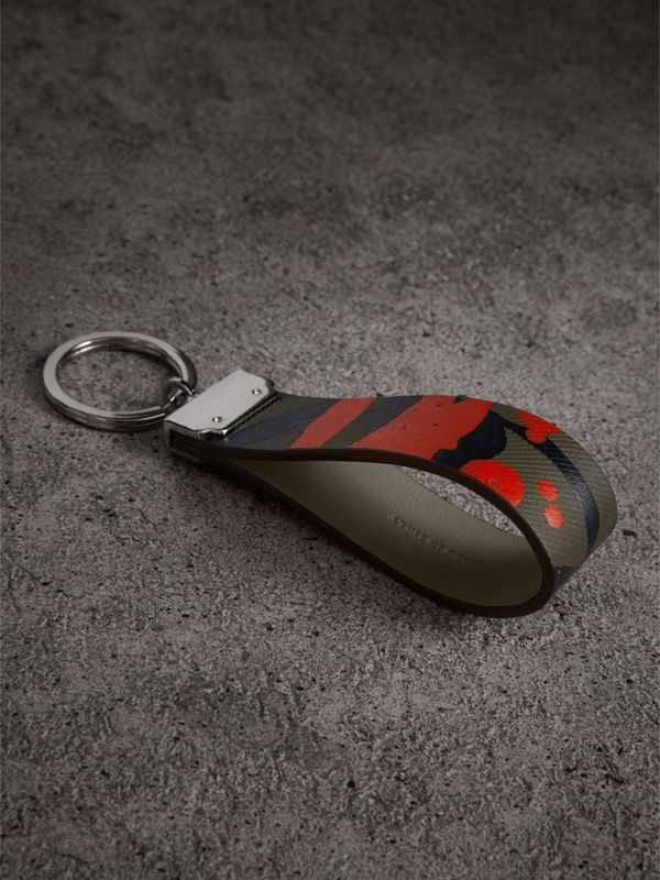 Splash Trench Leather Key Ring in Slate Green/splash - Men | Burberry - cell image 2