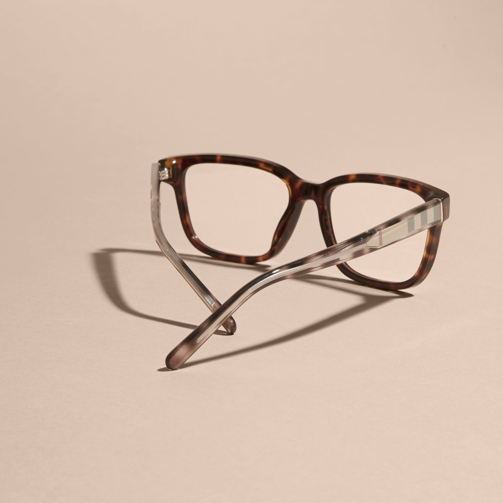 Light russet brown Check Detail Rectangular Optical Frames Light Russet Brown - gallery image 4