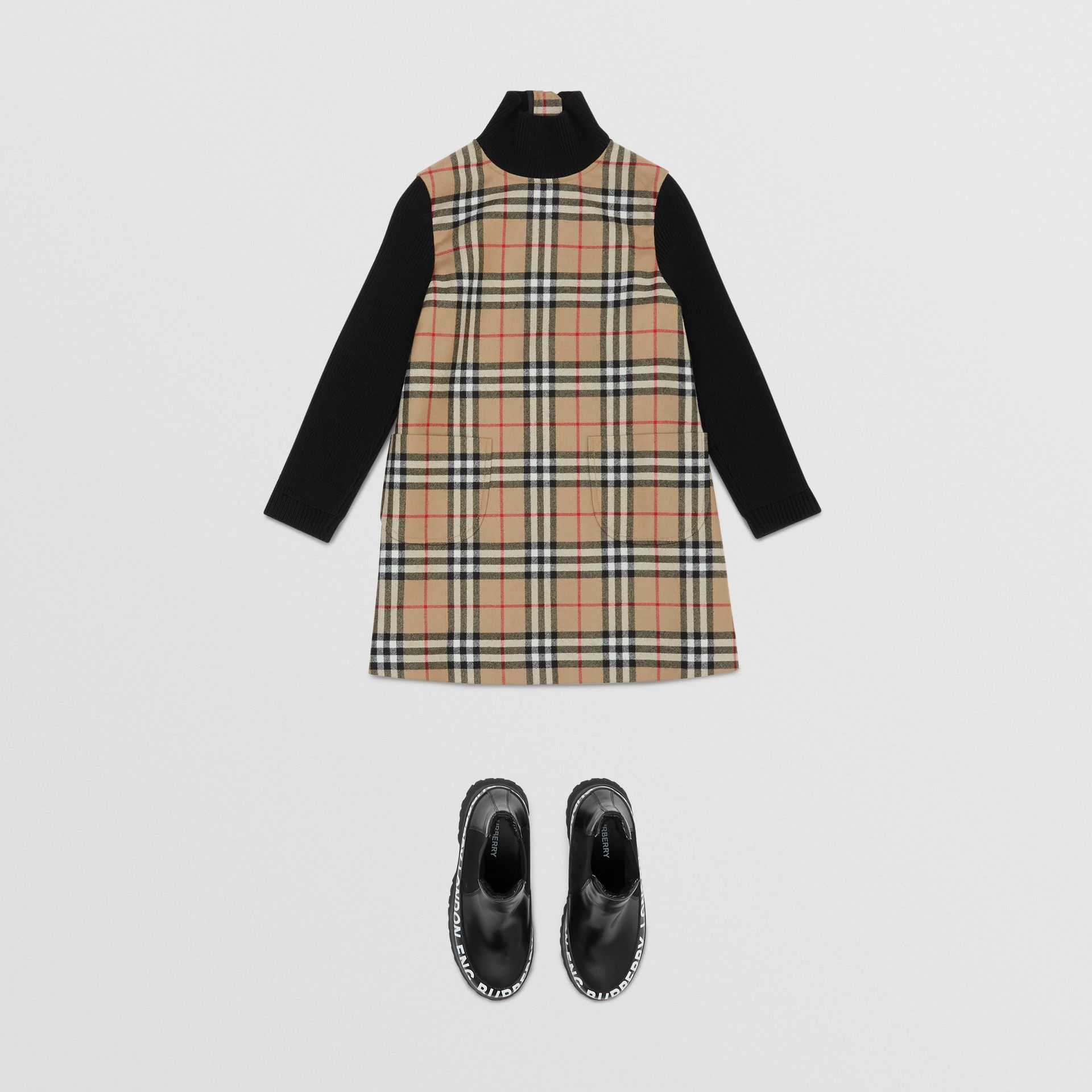 Vintage Check Wool Funnel Neck Dress in Archive Beige | Burberry Australia - gallery image 2
