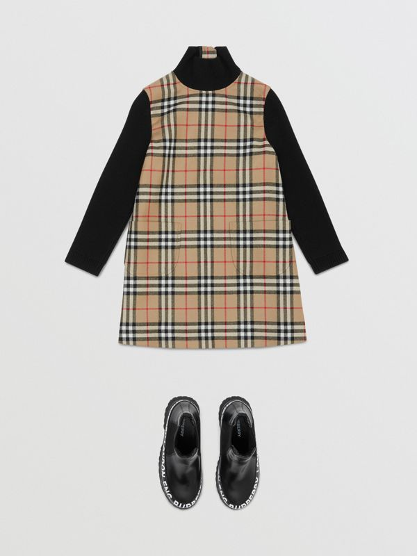 Vintage Check Wool Funnel Neck Dress in Archive Beige | Burberry Australia - cell image 2