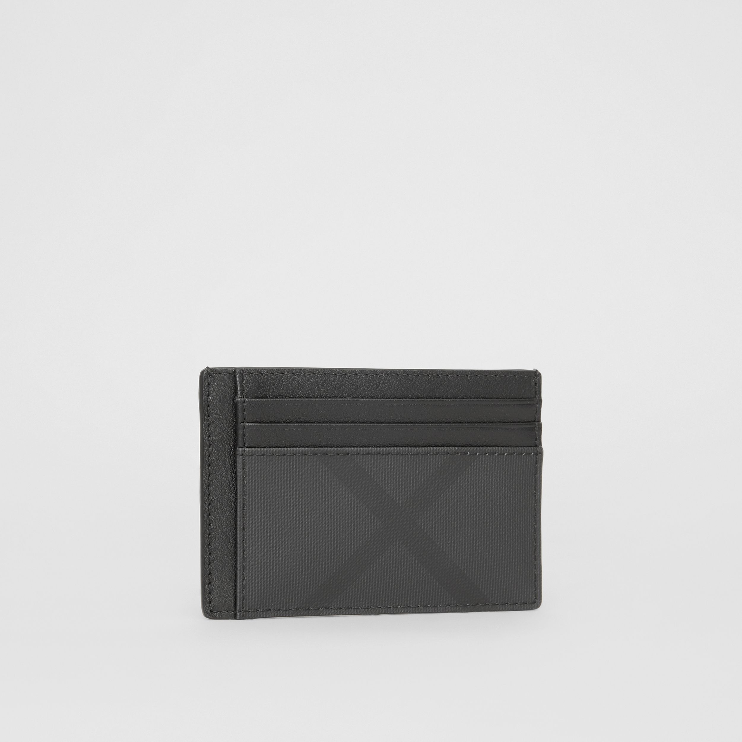 London Check and Leather Card Case in Dark Charcoal - Men | Burberry United Kingdom - 4