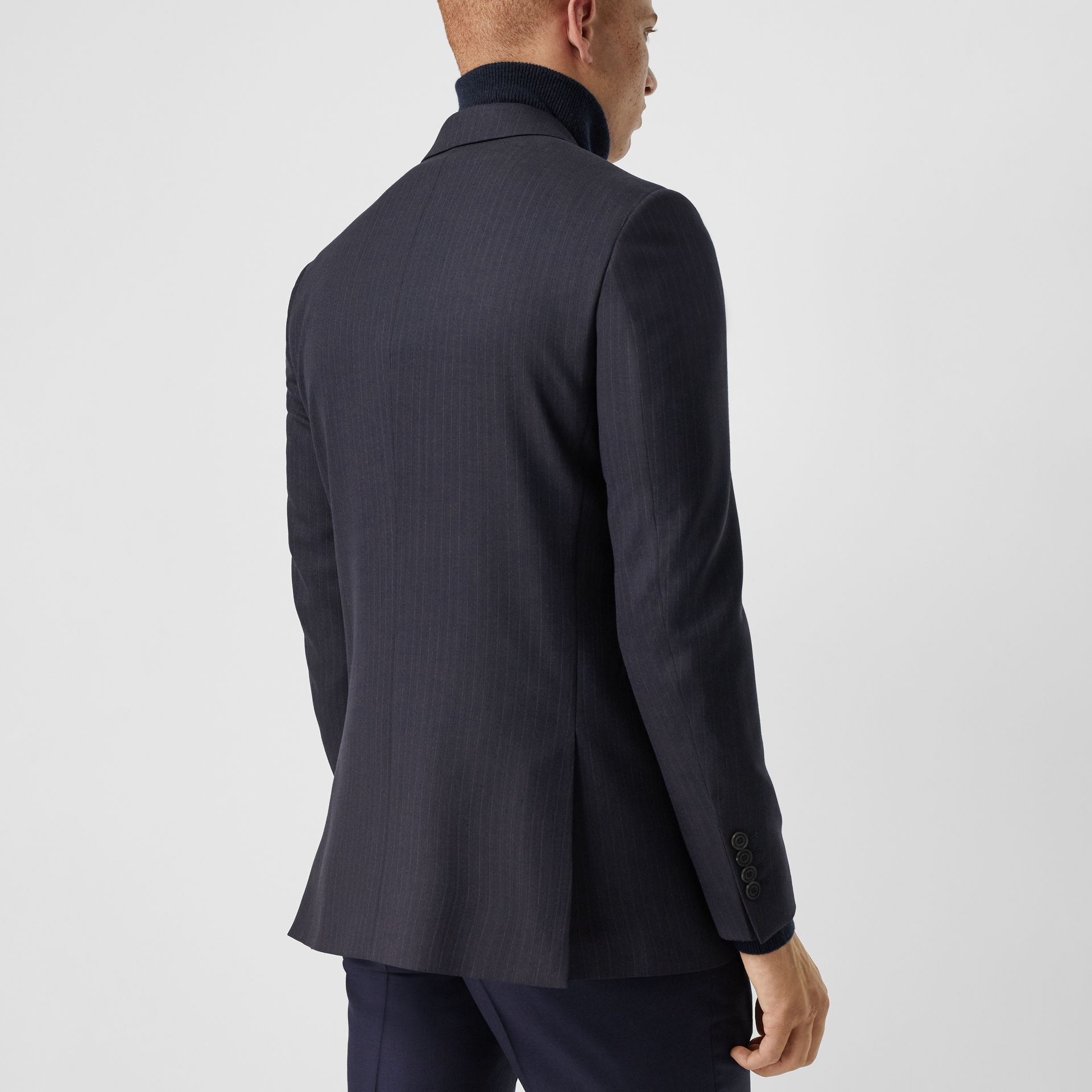 Classic Fit Pinstripe Wool Tailored Jacket in Navy Stripe - Men | Burberry United Kingdom - gallery image 2