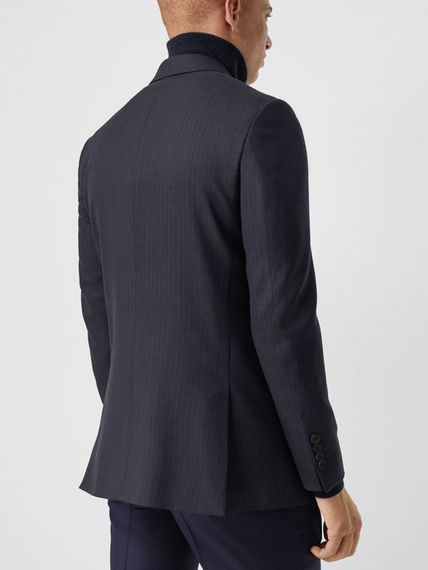 Classic Fit Pinstripe Wool Tailored Jacket in Navy Stripe - Men | Burberry United Kingdom - cell image 2