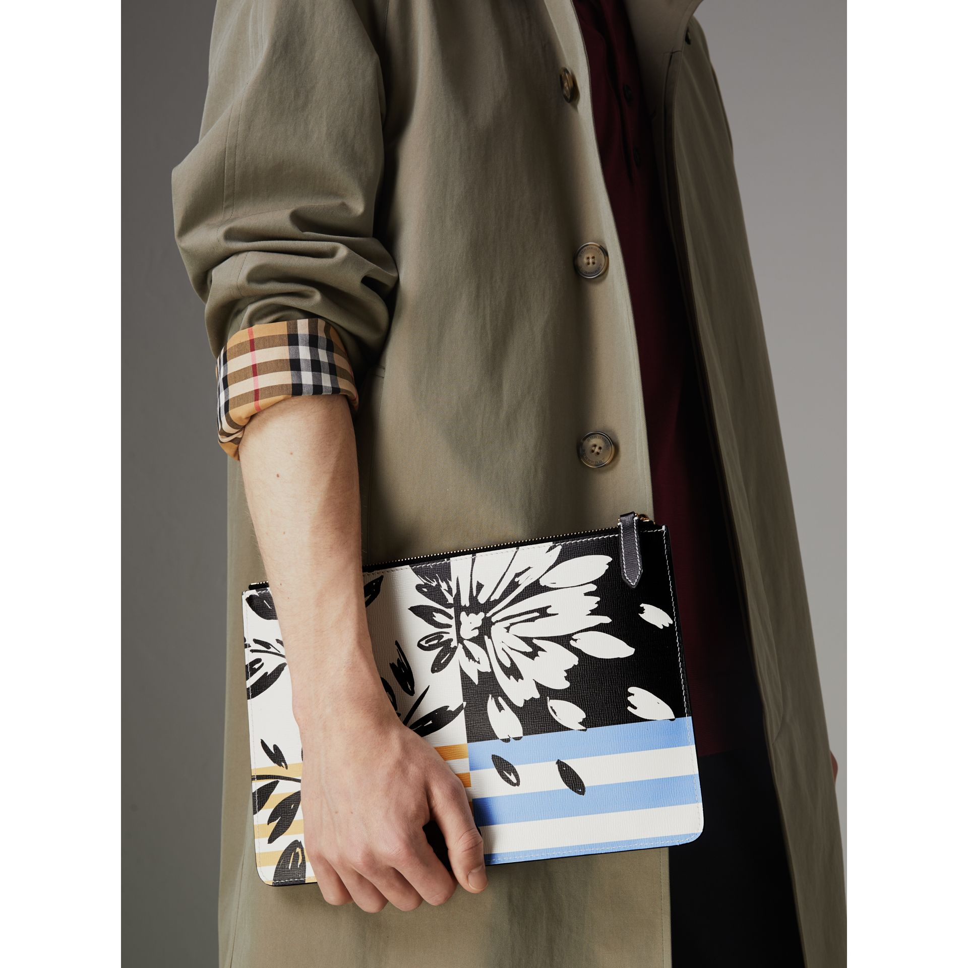 Large Floral Stripe Print Leather Zip Pouch in Patchwork | Burberry - gallery image 5