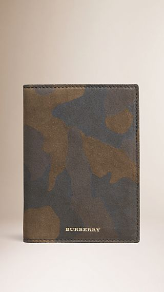 Camouflage Print Suede Passport Cover