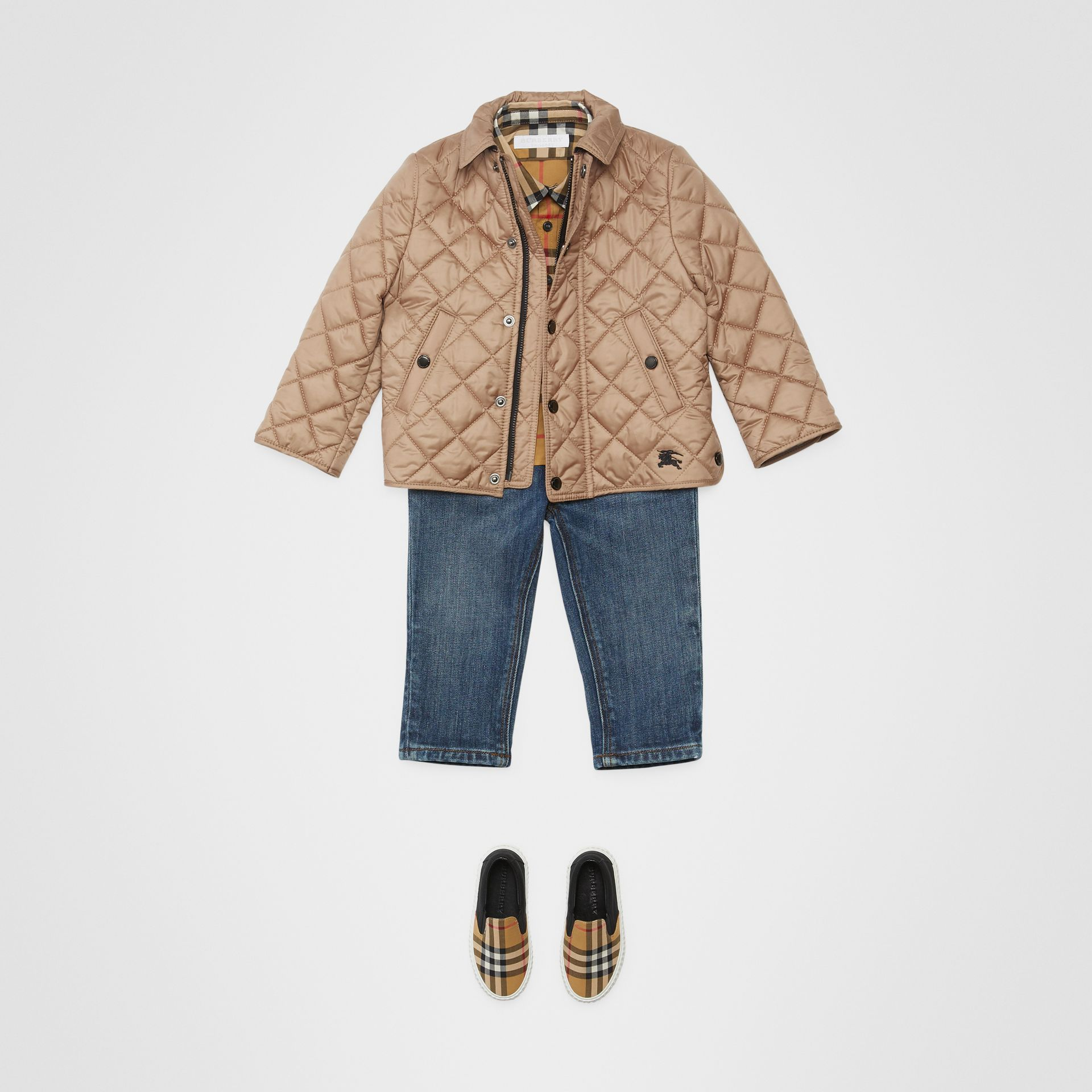 Lightweight Diamond Quilted Jacket in Camel - Children | Burberry - gallery image 2