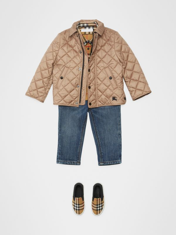 Lightweight Diamond Quilted Jacket in Camel - Children | Burberry - cell image 2