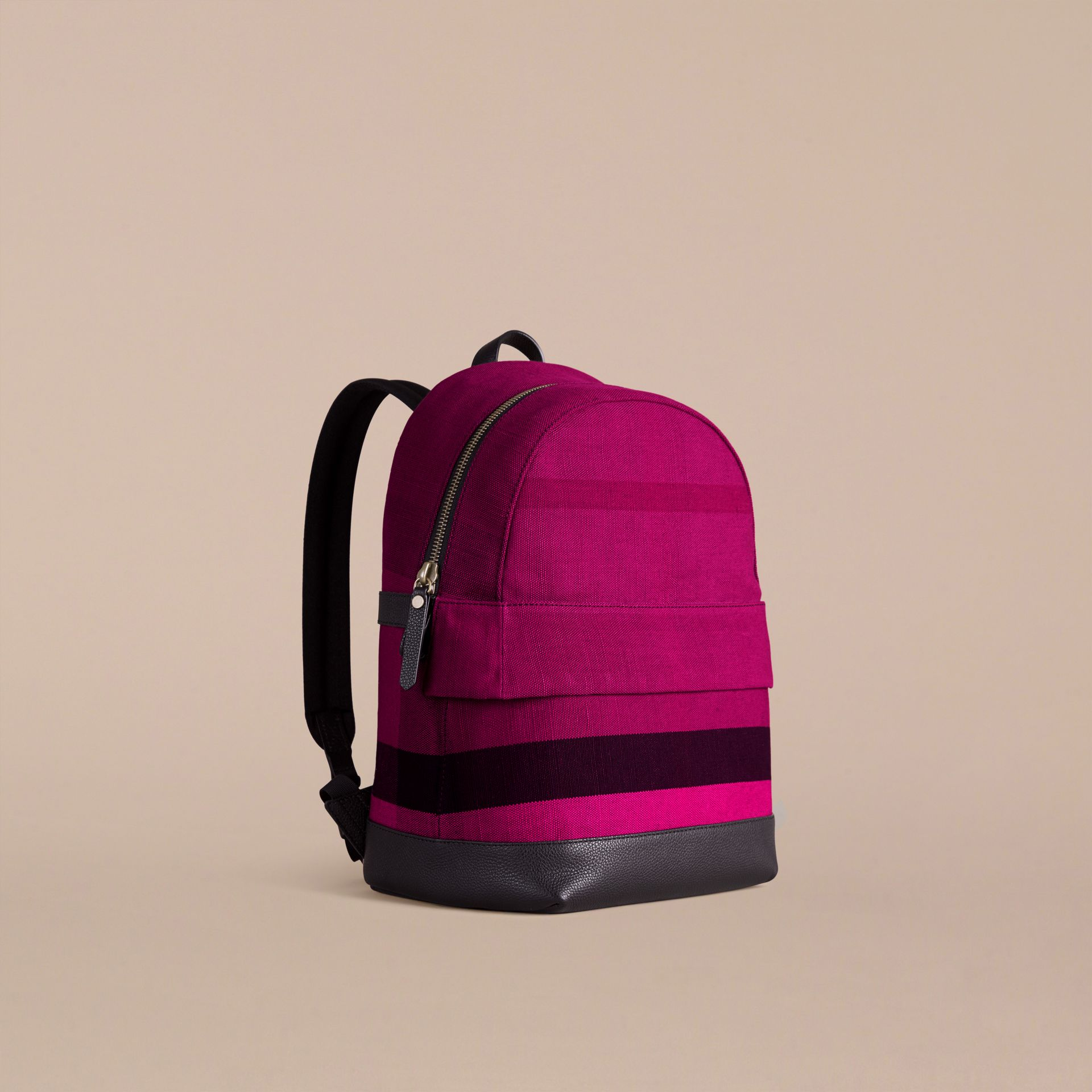 Plum Canvas Check and Leather Backpack - gallery image 1