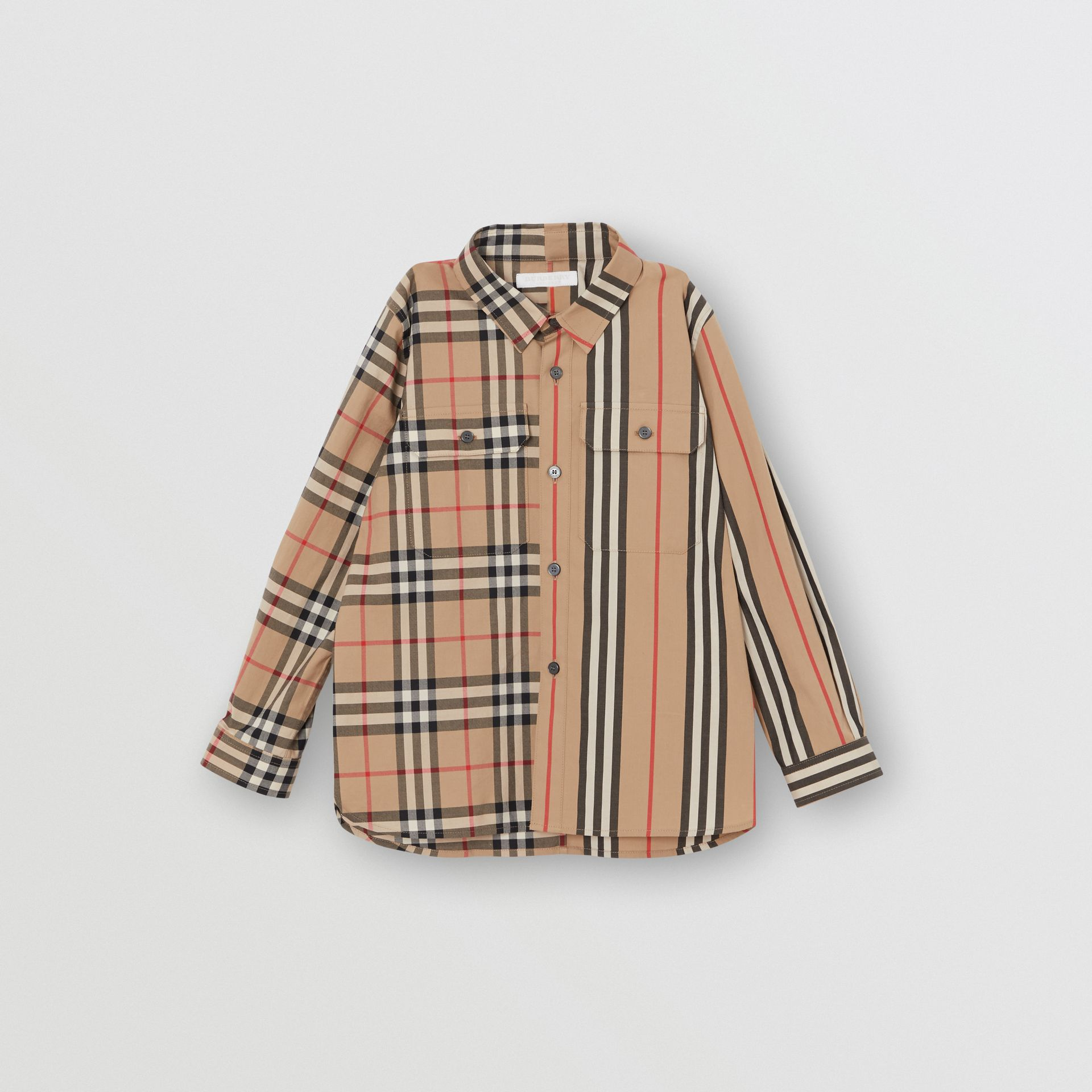 Panelled Vintage Check and Icon Stripe Cotton Shirt in Archive Beige | Burberry - gallery image 0