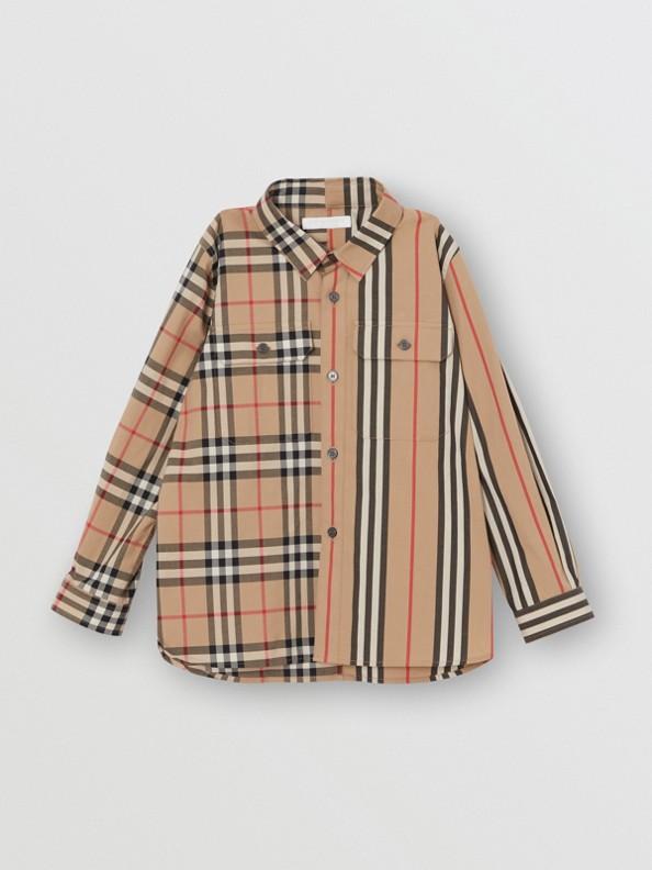 0ae09bb9eaf Chemise en coton à rayures iconiques et motif Vintage check (Beige  D archive)