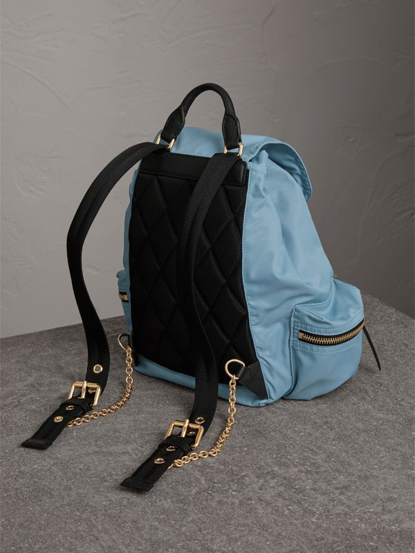 The Medium Rucksack in Technical Nylon and Leather in Pale Bluebell - Women | Burberry Singapore - cell image 3