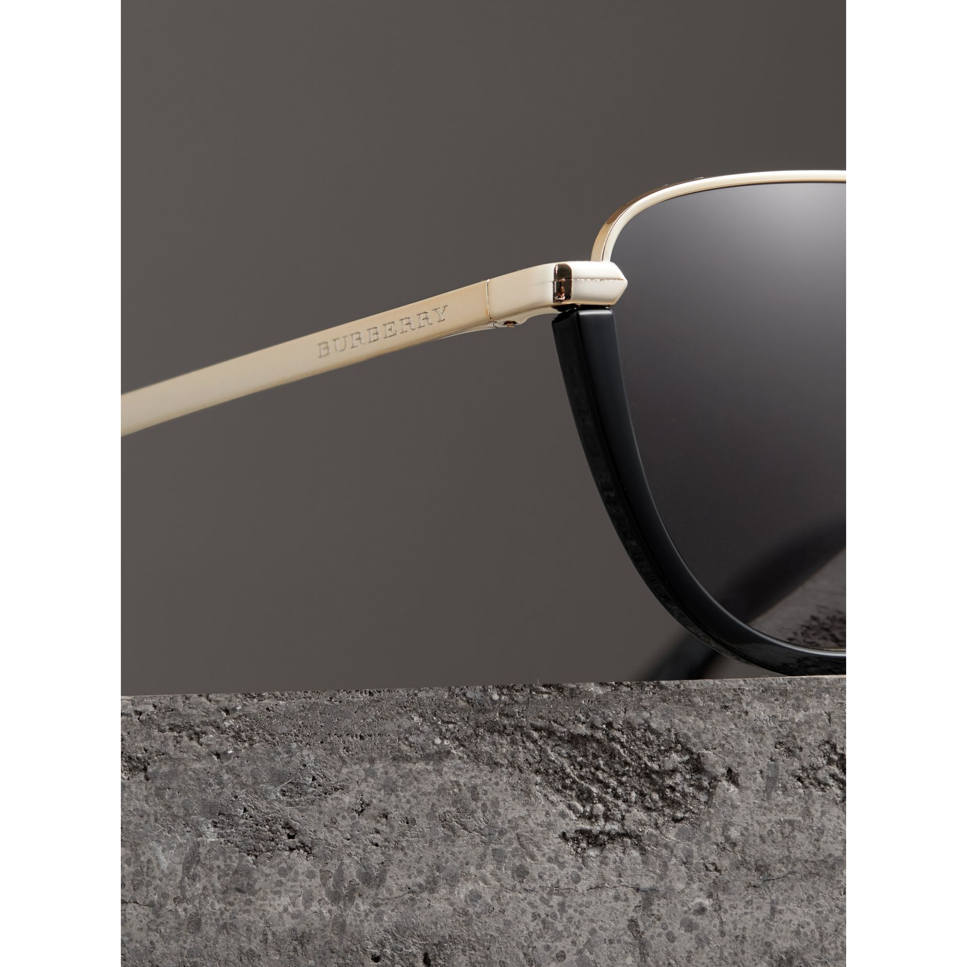 Half Moon Pilot Round Frame Sunglasses in Black - Women | Burberry Hong Kong - gallery image 1