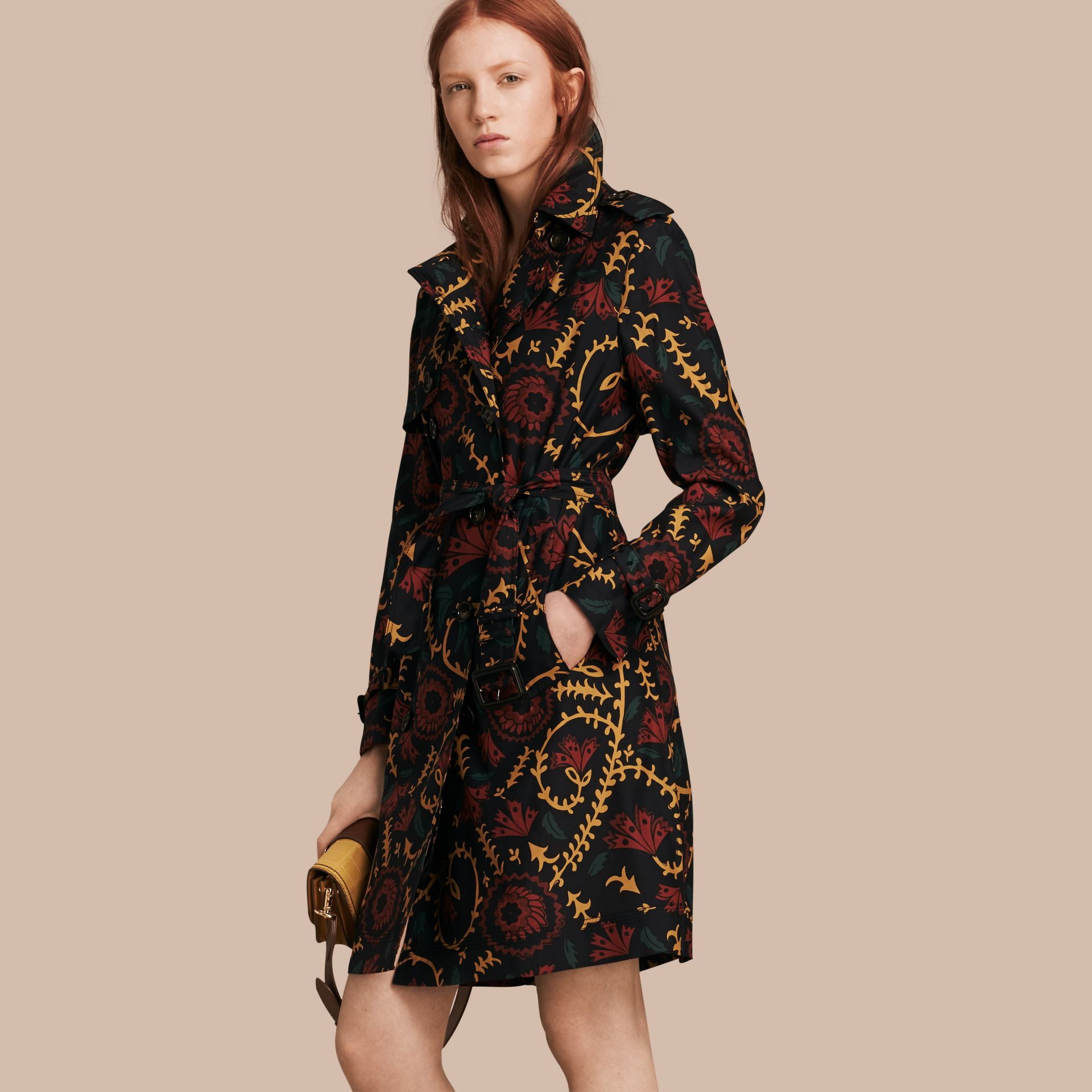 Navy Floral Print Silk Wool Trench Coat - gallery image 1