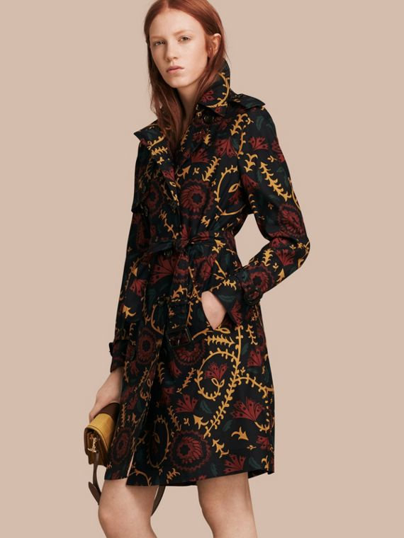 Floral Print Silk Wool Trench Coat