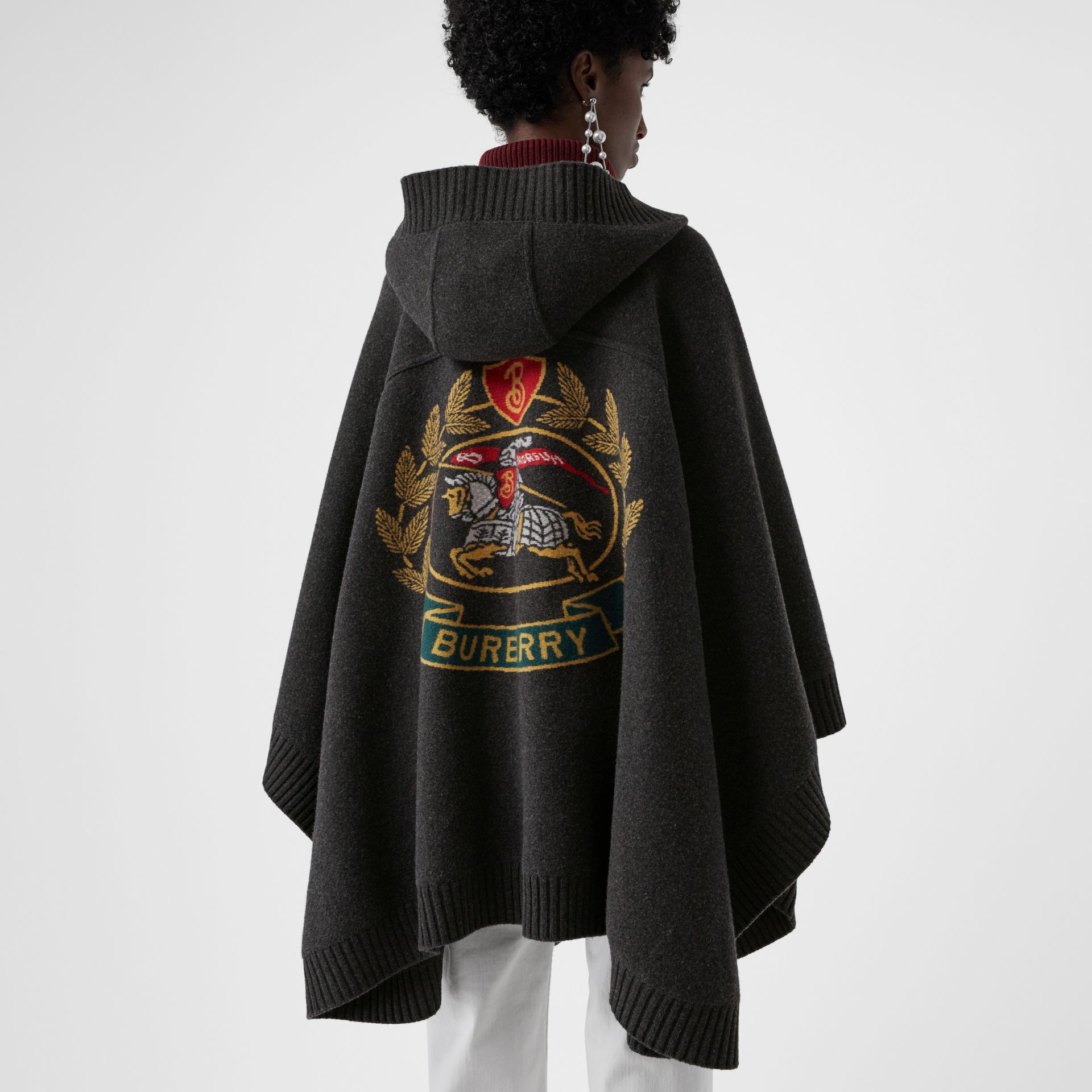 Crest Jacquard Wool Blend Hooded Cape in Charcoal - Women | Burberry - gallery image 4