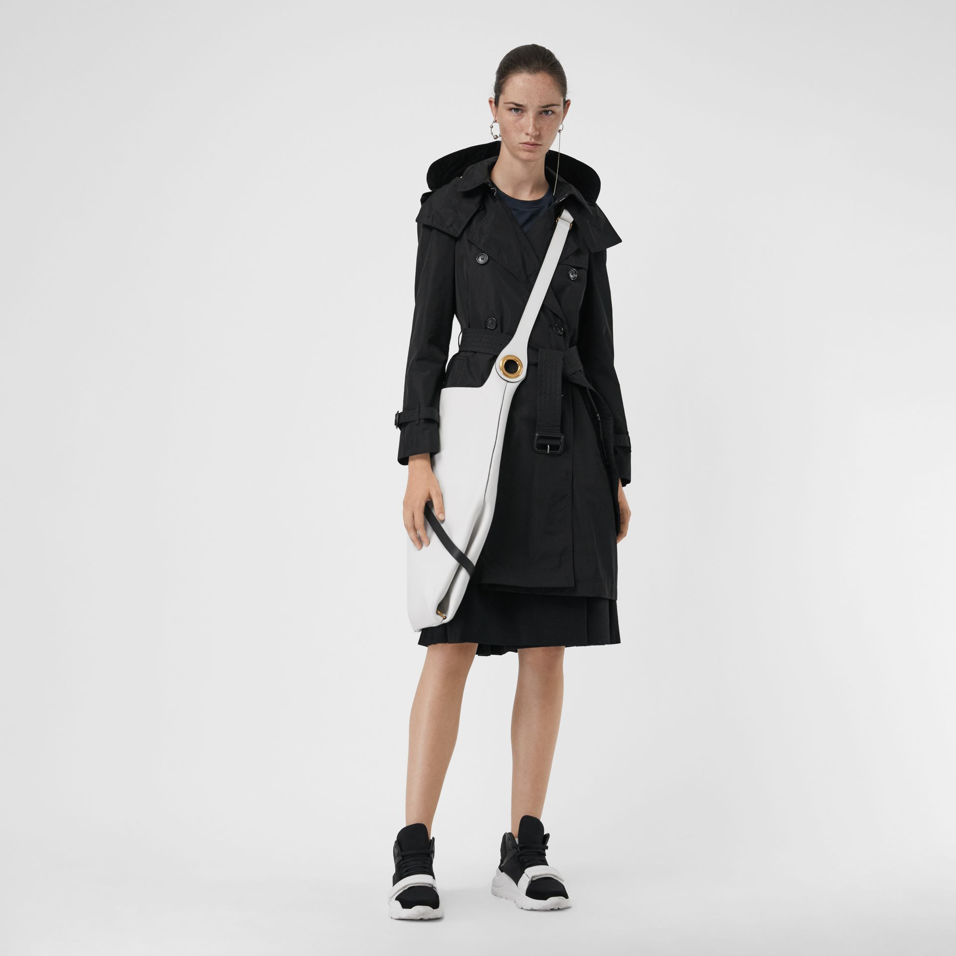 Detachable Hood Taffeta Trench Coat in Black - Women | Burberry - gallery image 0