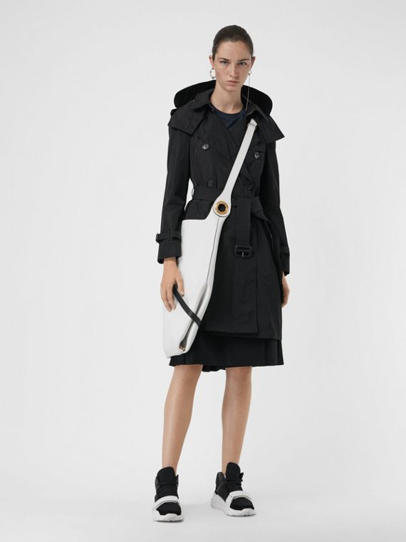 Detachable Hood Taffeta Trench Coat in Black