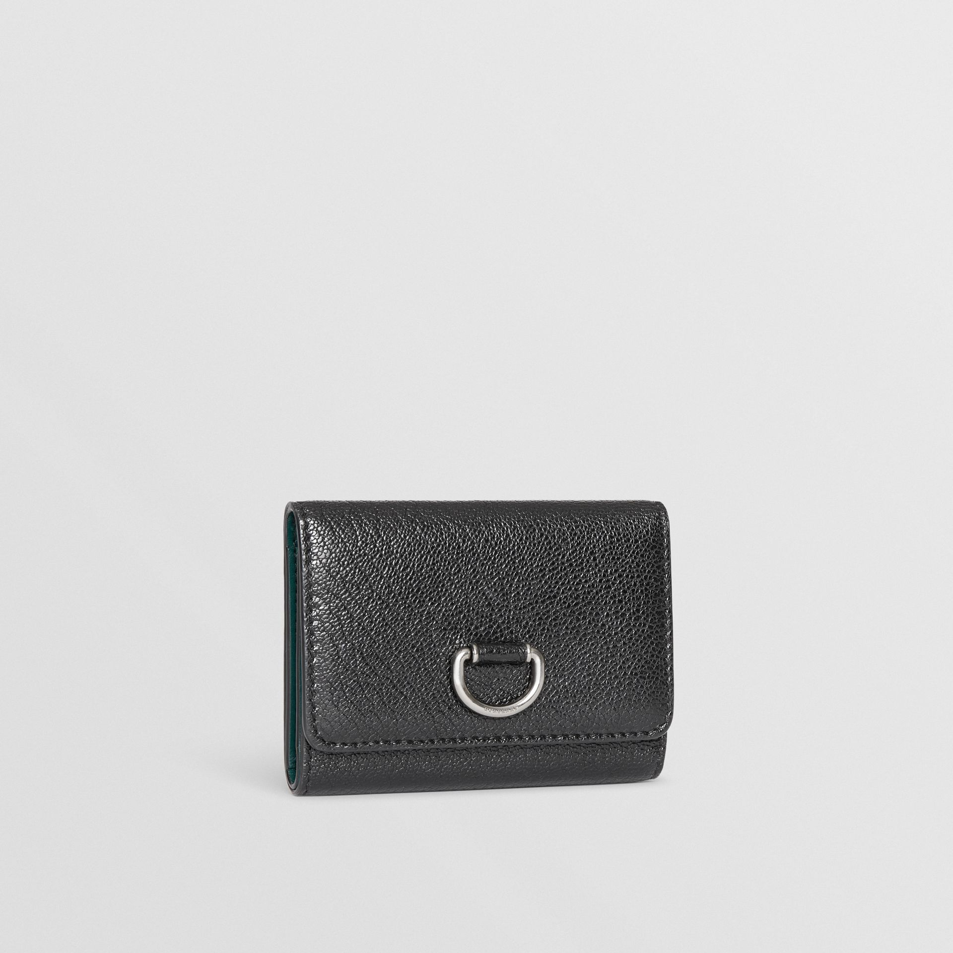 Small D-ring Leather Wallet in Black - Women | Burberry Canada - gallery image 3