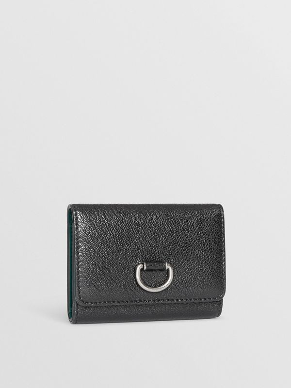 Small D-ring Leather Wallet in Black - Women | Burberry Canada - cell image 3