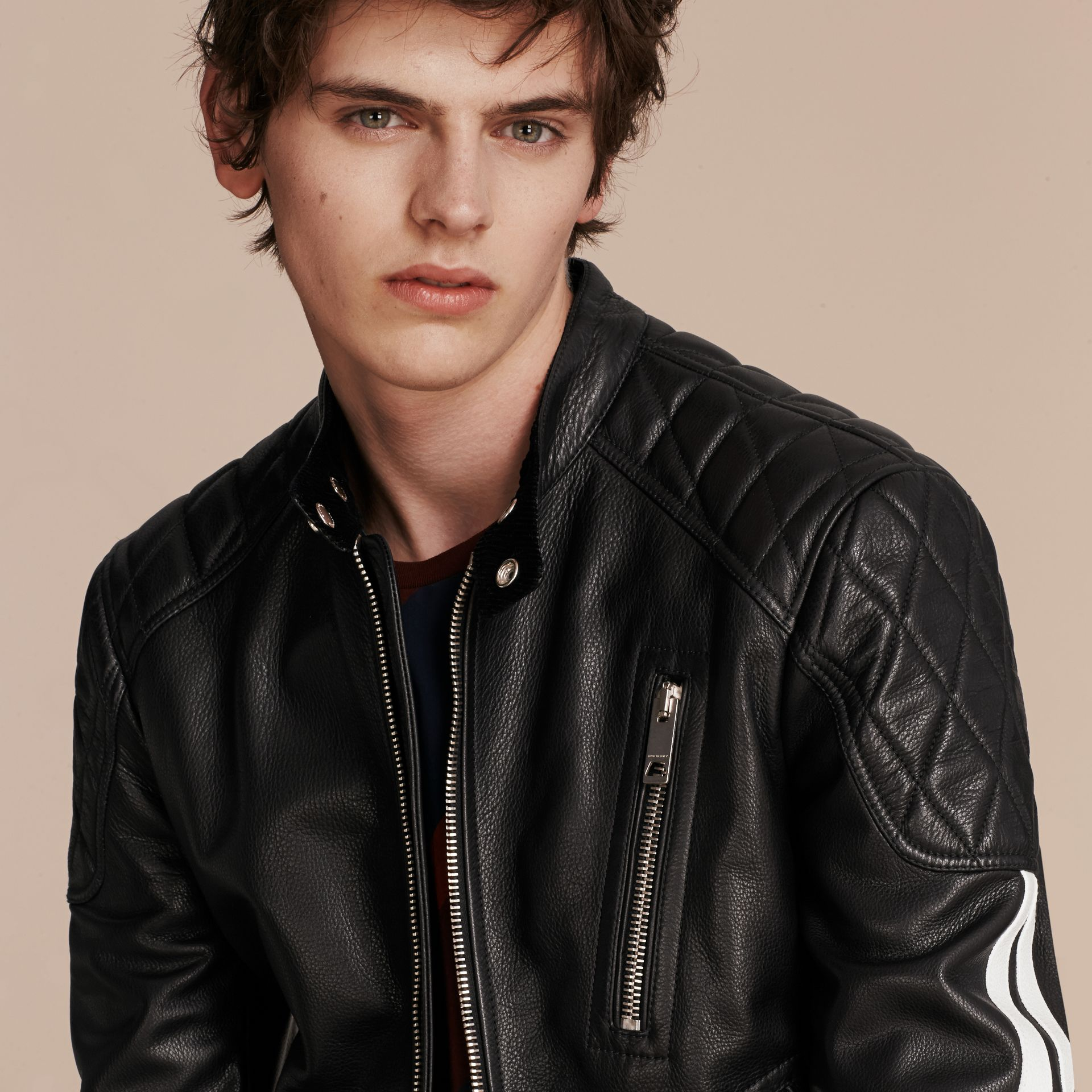 Black Stripe Detail Leather Jacket - gallery image 5