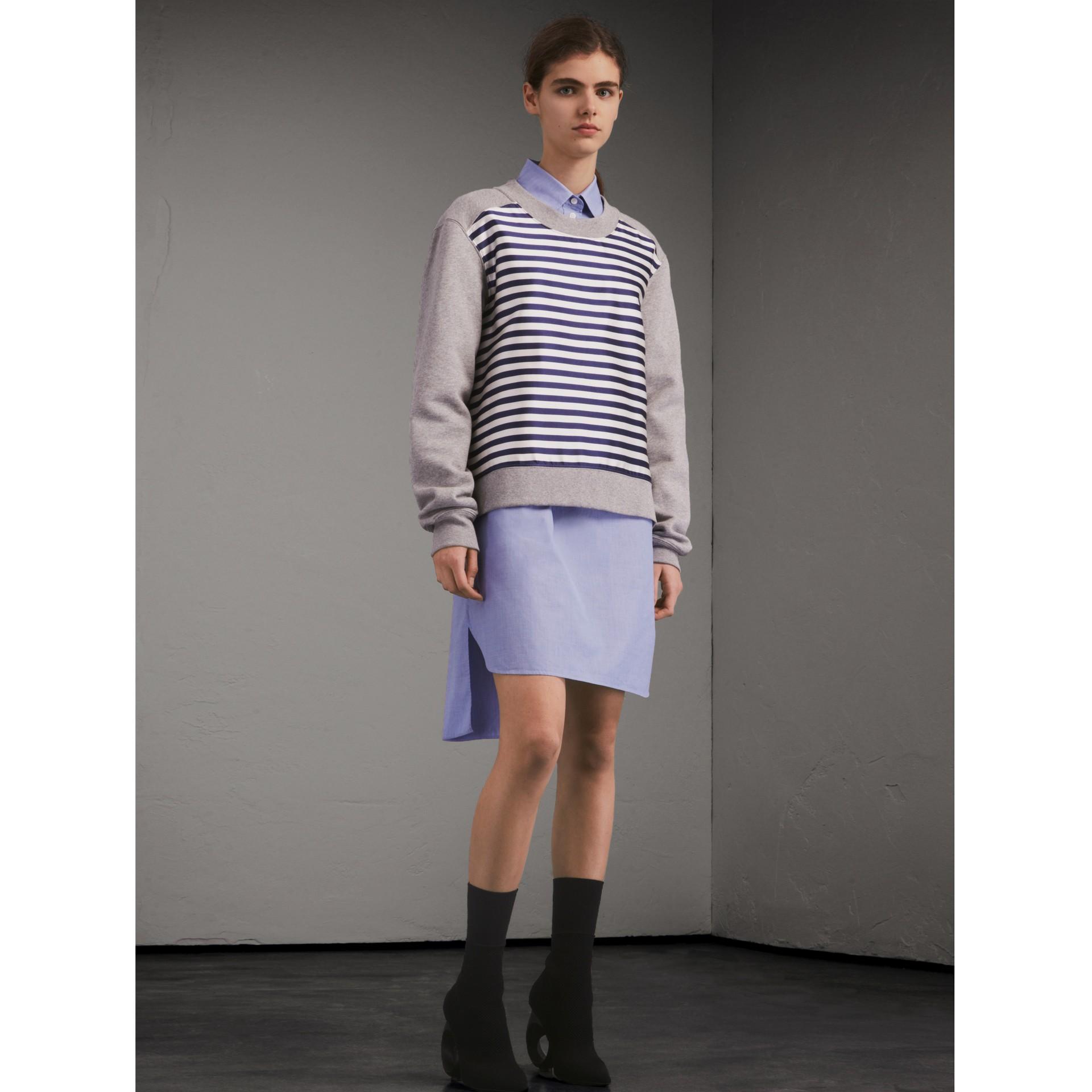 Unisex Striped Silk Cotton Panel Sweatshirt in Grey Melange - Men | Burberry - gallery image 3