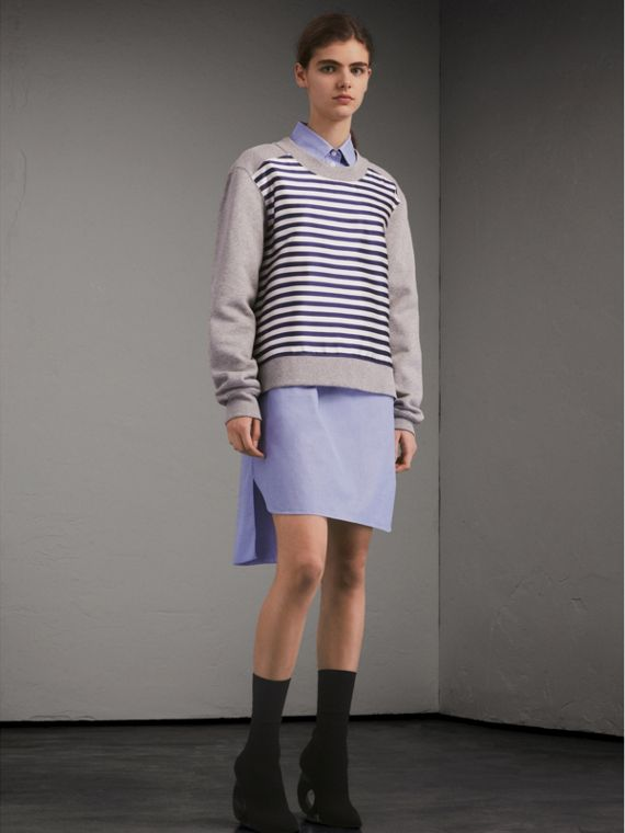 Unisex Striped Silk Cotton Panel Sweatshirt - Men | Burberry - cell image 2