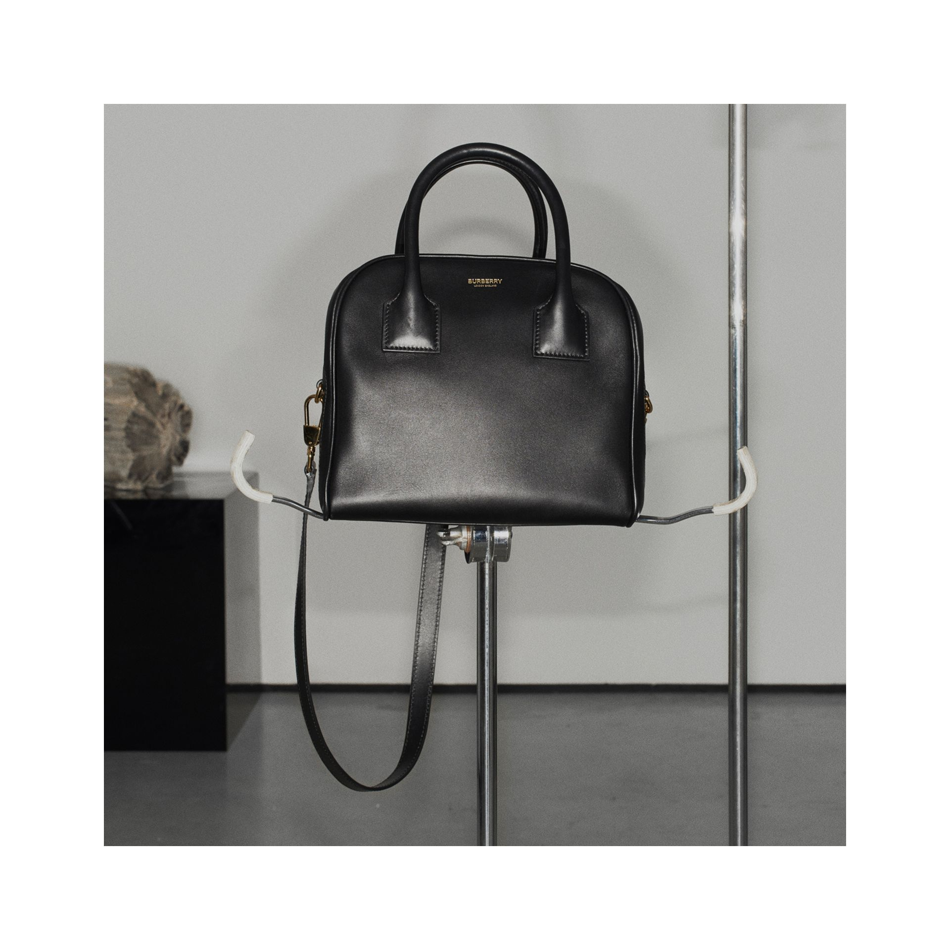 Small Leather Cube Bag in Black - Women | Burberry Australia - gallery image 1
