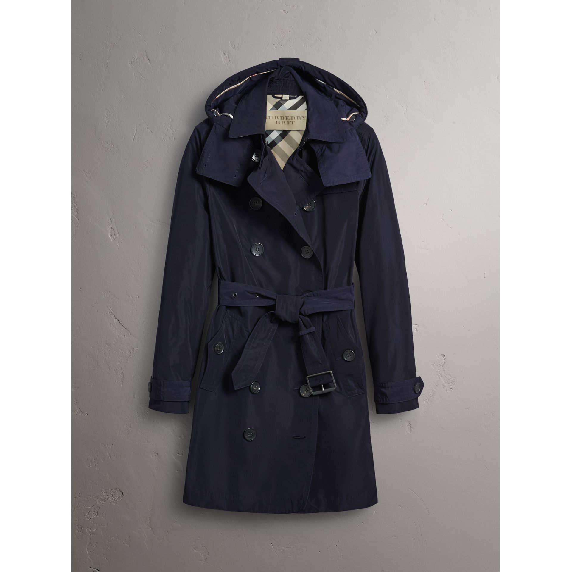 Taffeta Trench Coat with Detachable Hood in Navy - Women | Burberry - gallery image 3