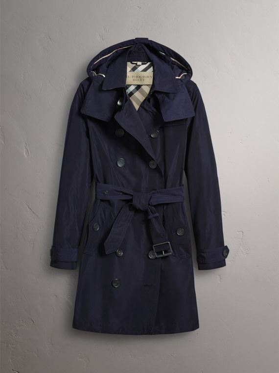 Taffeta Trench Coat with Detachable Hood in Navy - Women | Burberry - cell image 3