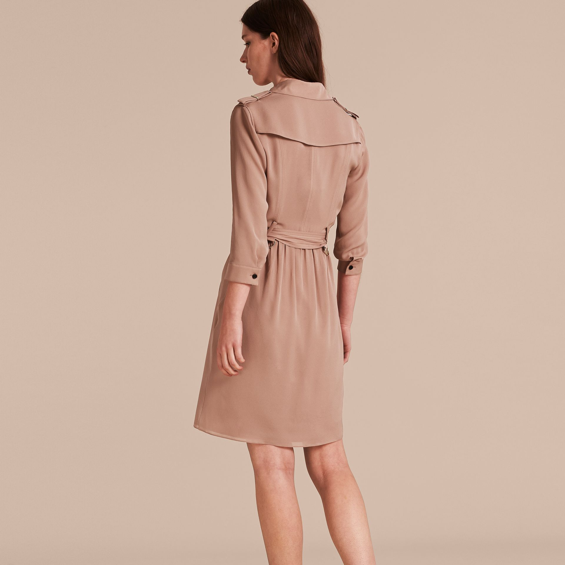 Silk Trench Dress in Nude - gallery image 3