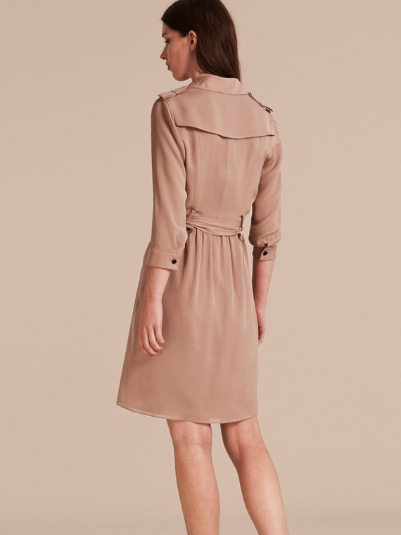 Silk Trench Dress in Nude - cell image 2