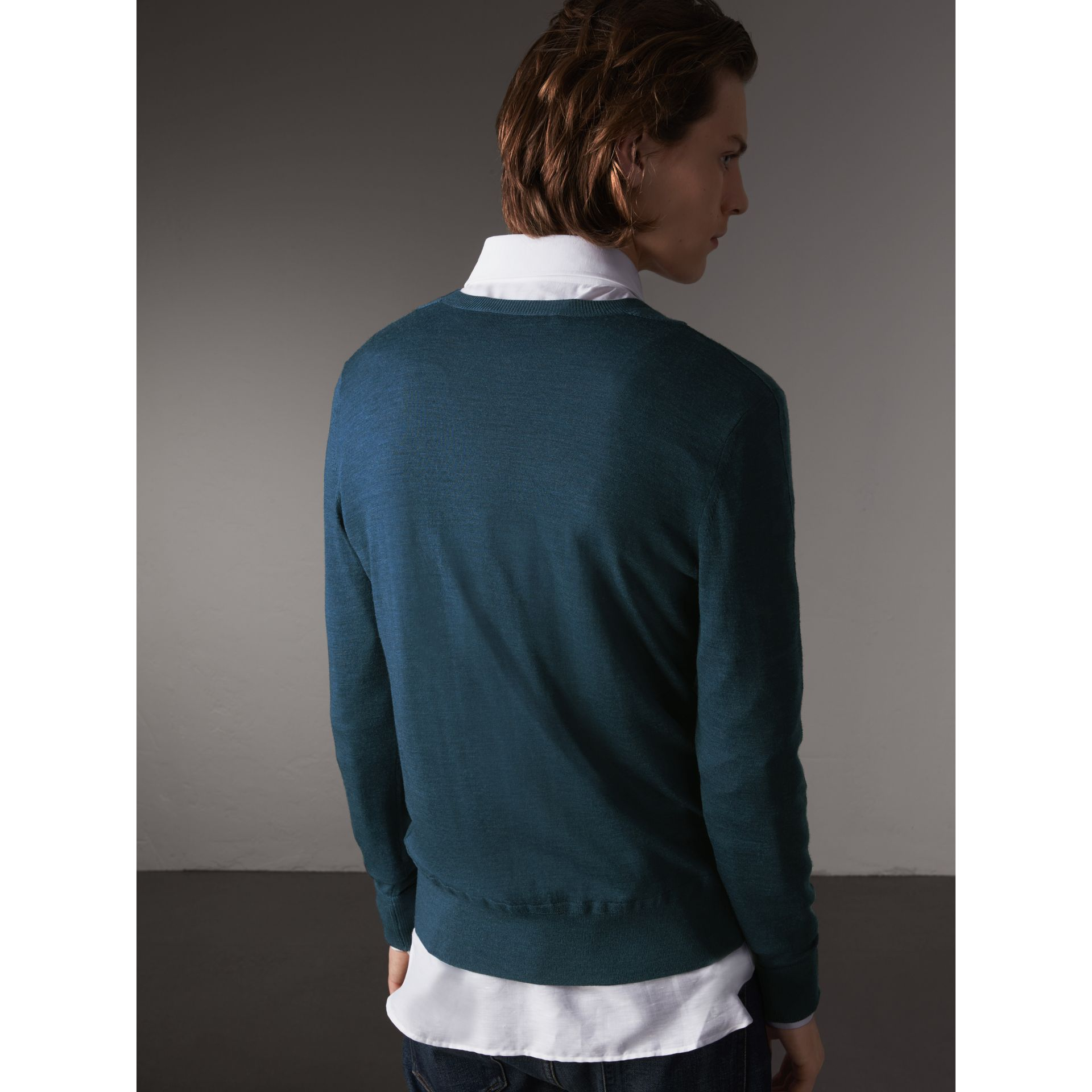 Merino Wool V-neck Sweater in Steel Blue - Men | Burberry Singapore - gallery image 3