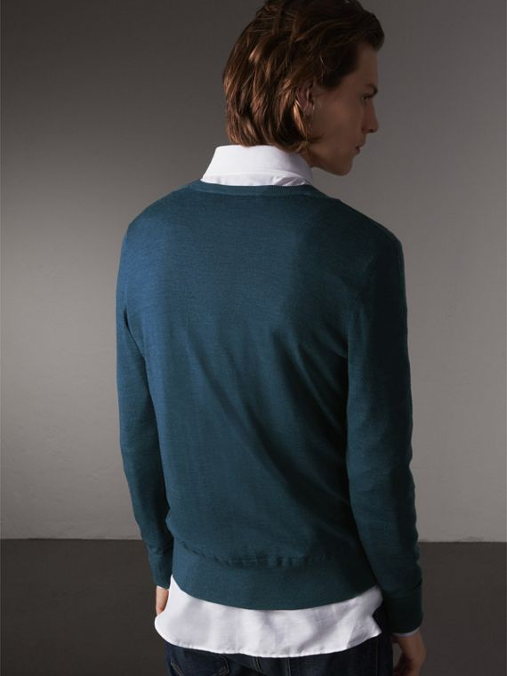 Merino Wool V-neck Sweater in Steel Blue - Men | Burberry Singapore - cell image 2