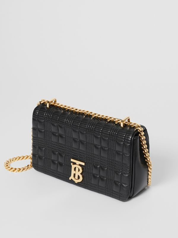 Small Quilted Check Lambskin Lola Bag in Black - Women | Burberry - cell image 3
